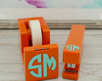 Monogram Desk Set, Stapler and Tape Dispenser