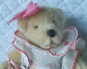 SALE! MUFFY VANDERBEAR, by the North American Bear Co., Adorable, Wearing a Sweet Romper with Hearts & Roses, Pink Patent Shoes!