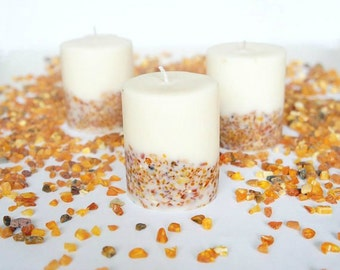 Soy Wax Candle With Natural Baltic Amber Stones for Summer Decorantion