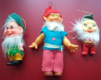 Vintage Gnome Dwarf Elf Pixie 3 plastic felt flocked Christmas ornaments figurines wispy beard mid century kitsch decorations