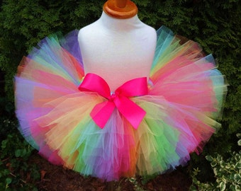 Birthday Tutu, Rainbow Tutu, Party Tutu, Sewn Tutu, Baby Tutu, Newborn Tutu, Toddler Tutu, Tutu, Rainbow, Tutu, Cakesmash Tutu, Photoprop