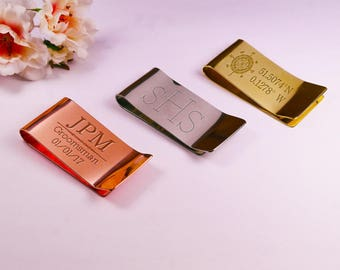 Gold Monogrammed Money Clip, Brass Money Clip with personalised Initials or Monogram