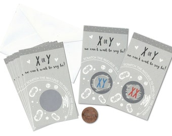 XY or XX Gender Reveal Scratch-Off Cards - Pack of 12 | Scratch the Nucleus Baby Announcement | Science Biology Teacher Student Scientist