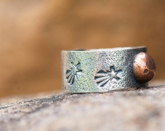 Rustic Mixed Metal Textured Stamped Sterling Silver and Copper Moon and Stars Band Ring, Stamped Ring, Textured Ring,