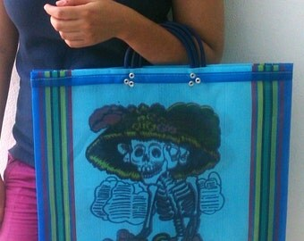 Mexican Sugar Skull bag, Day of the Dead bag, Mexican bag, Catrina bag, mexican tote, Mercado Bag ,Mexican market mercado bag, Skull purse