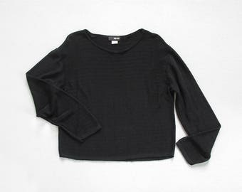 vintage minimal black top / 90s stretchy jersey knit shirt / long sleeve collarless pullover / womens S - M - L