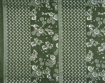 "Indian Decor Fabric, White Floral Print, Dark Green Fabric, Dressmaking  Fabric, Cotton Fabric, 44"" Inch Fabric By The Yard ZBC7298A"