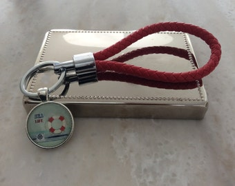 RED/ Leather key holder with pendent/ NAUTIQUE