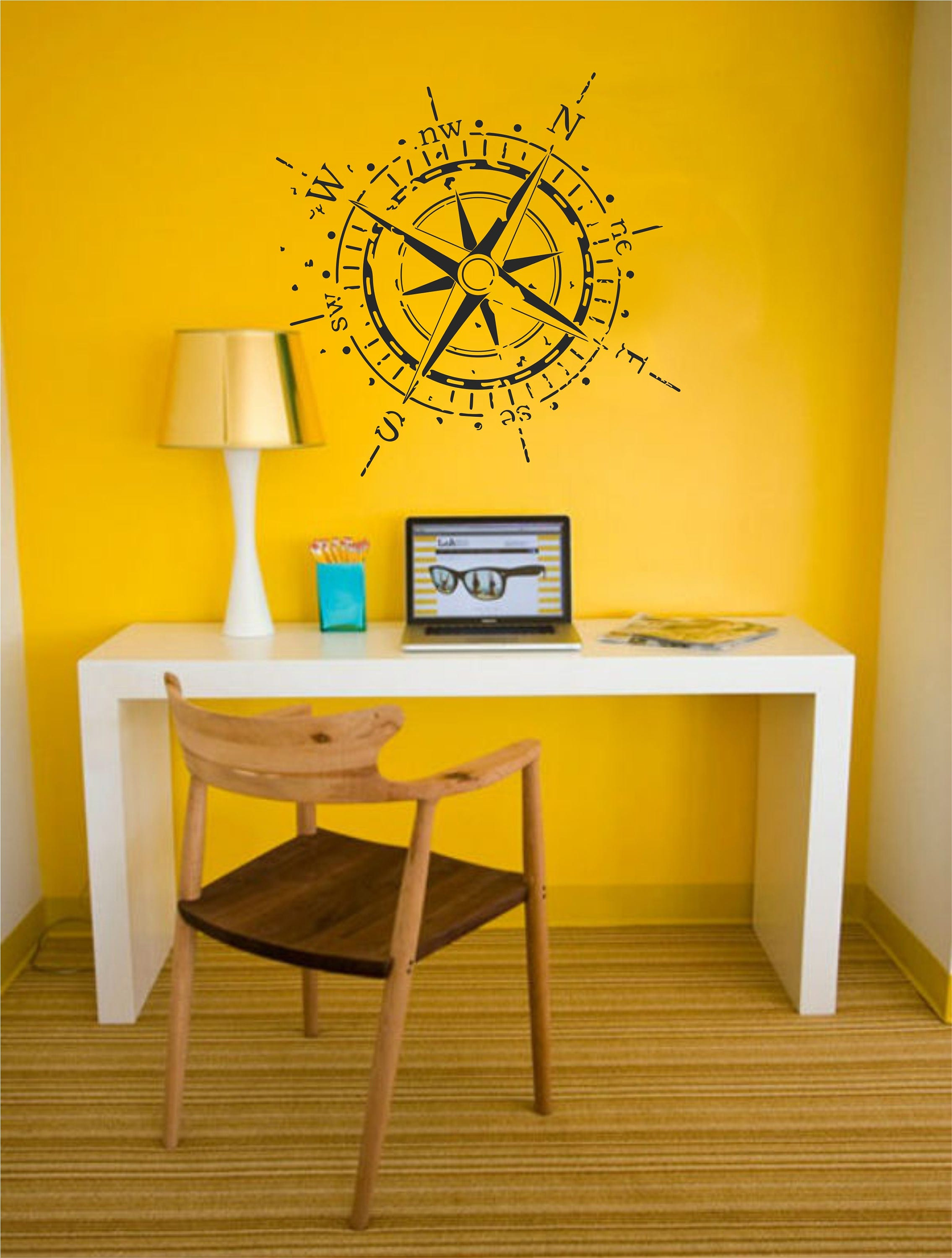 Compass rose wall decal vintage nautical vinyl sticker art zoom amipublicfo Gallery