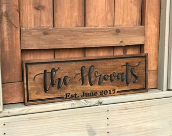 Last Name Sign w/ Year Established | Custom carved and double sided with a sweet message of your choice for the back.