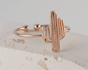 Tiny Cactus Ring - Cactus Jewelry - Desert Cactus Ring - Adjustable Ring - Rose Gold Ring - Gold Ring - Perfect Gift for Her