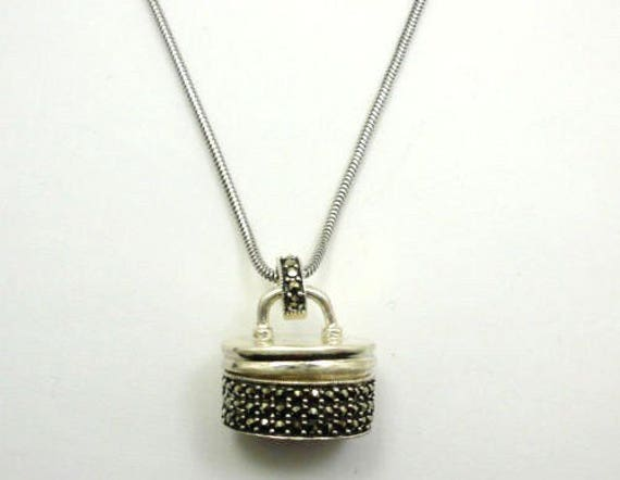 Vintage sterling silver marcasite boxy handbag pendant that opens up