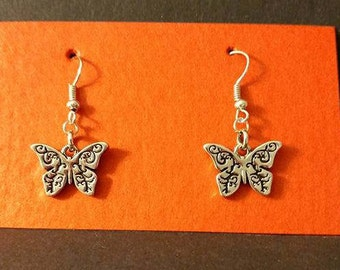 Silver with black outline Butterfly Silver fishhook
