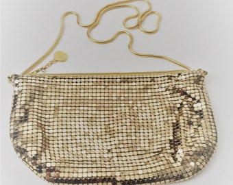 Gold Evening Bag, Gold Purse, Gold Metallic Mesh Purse by La Regal
