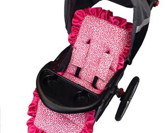 Hot Pink Cheetah Stroller Liner - Reversible to Hot Pink Minky