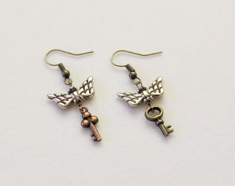 Harry Potter Flying Key Earrings in Gold and Bronze (Small)