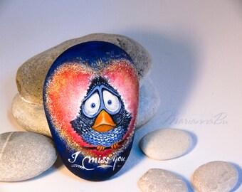 """Painted rocks  Souvenir """"I miss you..."""" Desk decor Desk accessories Sea stones"""