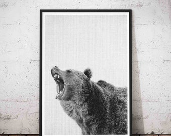 Nursery Wall Art, Bear Print, Animal Photo, Bear Photo, Printable Poster, Kids Room Decor, Woodland Prints, Modern Minimalist, Bear Wall
