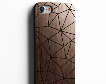 Geometric iPhone 8 case, 8 PLUS, X, SE 5s 5 6 /6s 7 Plus Case Samsung Galaxy S6 S7 S8 Edge Real Wood Case Laser Engraved iPhone Wooden Case