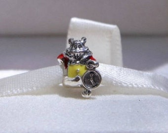 Disney Alice In Wonderland, WHITE RABBIT CHARM / New / Threaded / Sterling Silver s925 / Fully Stamped