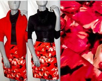 Larry Levine Stretch Knee Length Black/Red Floral Tier/Layer Work Career Skirt 12