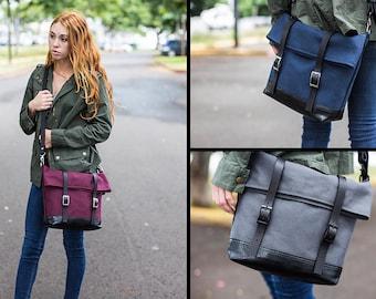 Large Crossbody Bag - Foldover Crossbody Bag Canvas -  Messenger Bag - Crossbody Handbag - Large Crossbody Purse - Shoulder Bag Cross Body
