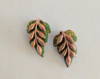 Vintage Renoir Matisse Earrings // Copper Enamel // Clip On Earrings // Green Leaf // Occasion Earrings // Gifts For Her // Jewellery //
