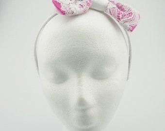 Pink & White Bow Headband