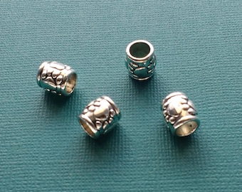 10 Spacer Beads Paw Print Silver - CS2718