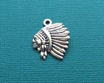 10 American Indian Head Charms Silver Indian Chief Head Charm - CS2734