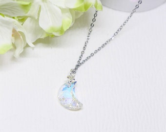 Swarovski crystal Moon shape pendant with 42cm chain necklace. Crystal necklace. Swarovski necklace. Genuine Swarovski elements
