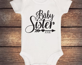Baby Sister Onesie - Personalized Shirt - Sibling Shirt - Baby Announcement - Pregnancy Announcement - Big Sister - Little Sister - Glitter