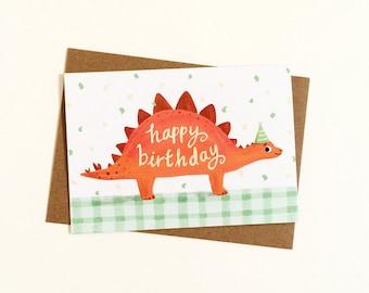 Dinosaur Birthday Card - Stegosaurus Card, Dino lover, Best friend, Cute greetings card