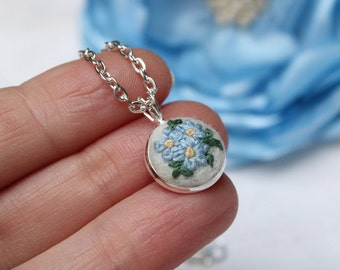 Forget me not necklace, Embroidered pendant, Silver small necklace, Blue flower necklace, Forget me not jewelry, Birthday gift for her