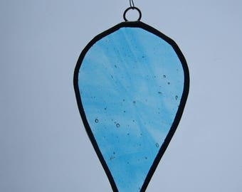 Stained Glass Sun Catcher Blue Droplet with Beads.