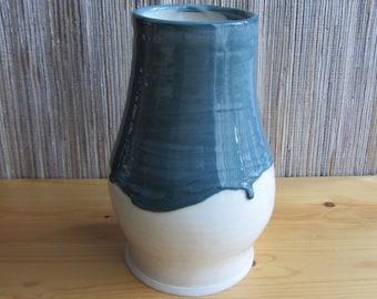 Handmade porcelain vase, blue and white pottery, ceramic vase, home decor