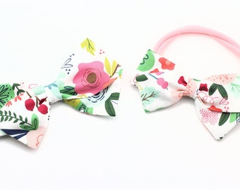 Baby Girl Floral Bows - Fabric Bow - Hair Clips For Girls