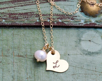 Gold Heart Necklace • Gold Charm Tiny Heart Initial Necklace Stamped Gold Initial • Jewelry Bridesmaid Gift Heart Wedding Jewelry