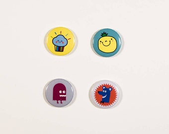 Button badges 25mm with bow pin - cupcake - pineapple - bear - Monster button pin set - 4 pieces