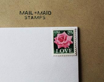 Pink Rose Love Stamps || 10 vintage unused postage stamps