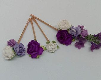 Purple & White Flower Hair Pins, Bridal Hair Pins, Flower Bobby Pins