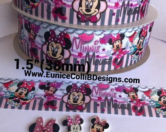 """1.5""""(38 mm) minnie mouse inspired grosgrain ribbon"""