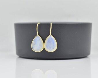 Rainbow Moonstone Earrings - Drop  Moonstone Earrings - Silver Moonstone Earrings - Gold  Moonstone Earrings - Moonstone Silver Earrings