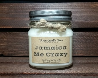 Aromatherapy Candles - 8oz Soy Candles Handmade - Spa Candles - Coworker Gift - Bridal Shower - Eco Friendly Candles - Jamaica Me Crazy