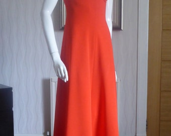 1970's Coral red dress very Michelle Pfeiffer