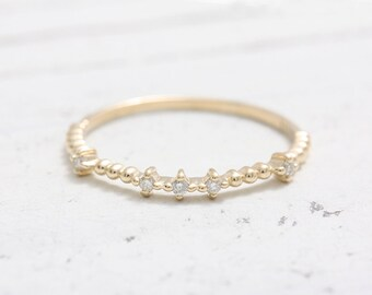 Cubic Zirconia Accent Tiny Ball Band Solid Gold Stacking Ring
