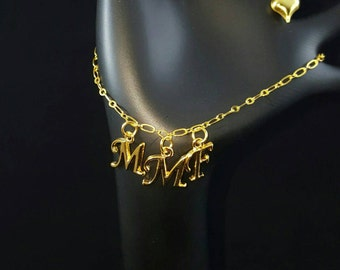 MMF/MFM/FMF Hotwife Anklet Jewelry Swinger Jewelry Gold Plated