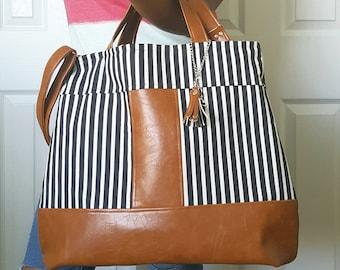 Black White Striped, Brown Faux Leather Bag, Crossbody, Tote, Diaper, Beach, Travel, Work, Market, Travel, Laptop, Bags, Bag, Handbag, Purse