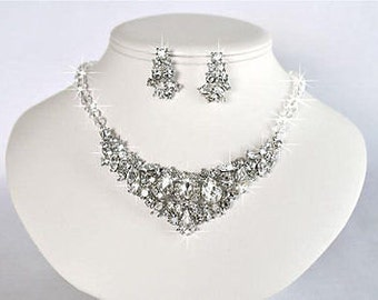 Vintage Inspired Fancy Cuts Crystal Rhinestone Necklace & Earrings Set, Bridal, Wedding (Sparkle-1139)