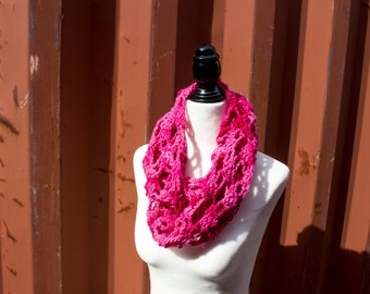Women's Crochet Chunky Lace Cowl Infinity Scarf in Bright Pink, Winter Accessory - Strawberry Smoothie Cowl